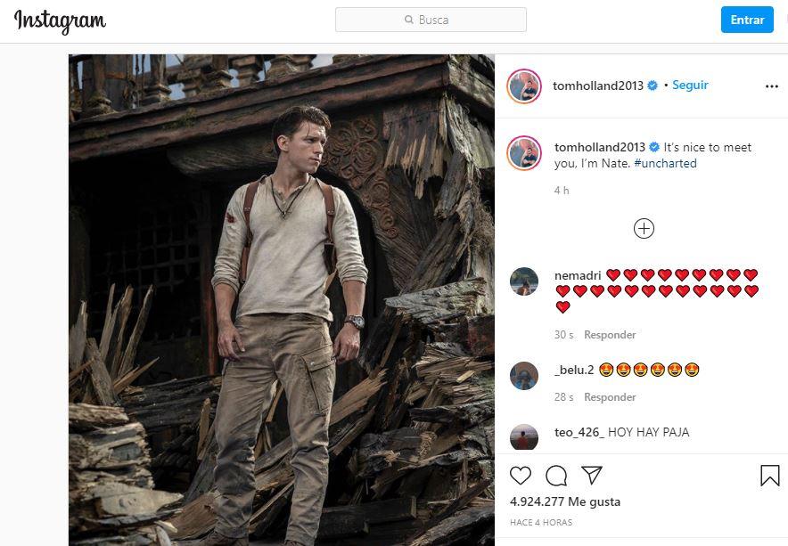 Imagen tomada de Instagram de Tom Holland.